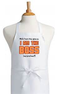 New Kitchen Idea funny white apron i m the boss novelty kitchen aprons