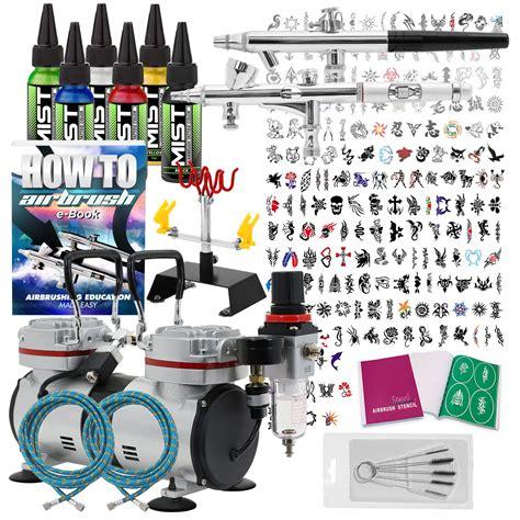 airbrush tattoo kit ebay temporary tattoo airbrush kit 2 gun set with compressor