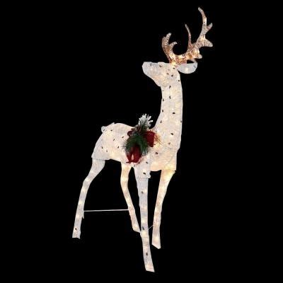pvc lighted reindeer with sleigh home accents 48 in pre lit reindeer ty313 1411 the home depot