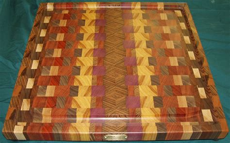 Kitchen Collection Store Handmade Exotic Woods End Grain Cutting Board Platter By
