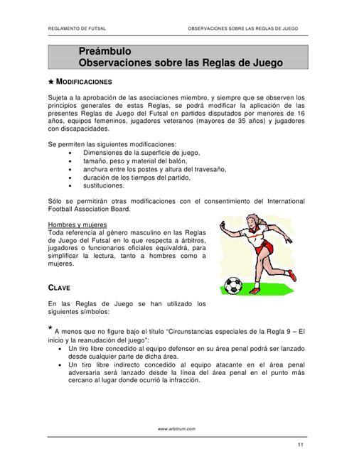 futbol de sala reglas reglamento futbol sala