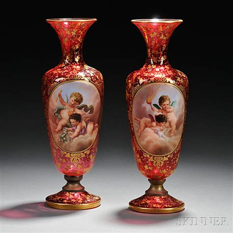 Bohemian Vases by Pair Of Bohemian Gilded And Enameled Cranberry Glass Vases