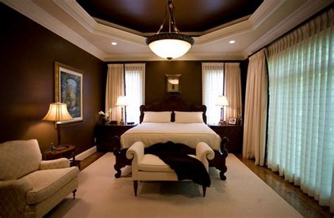 dark brown bedroom with white curtain home interior