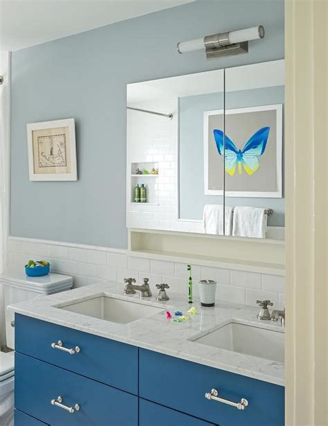 kids bathroom vanity kids washstand painted blue cottage bathroom sherwin williams georgian bay