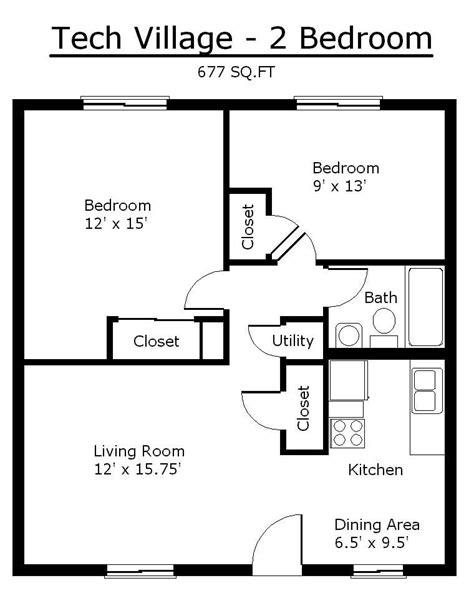 tiny house single floor plans  bedrooms apartment floor plans tennessee tech university