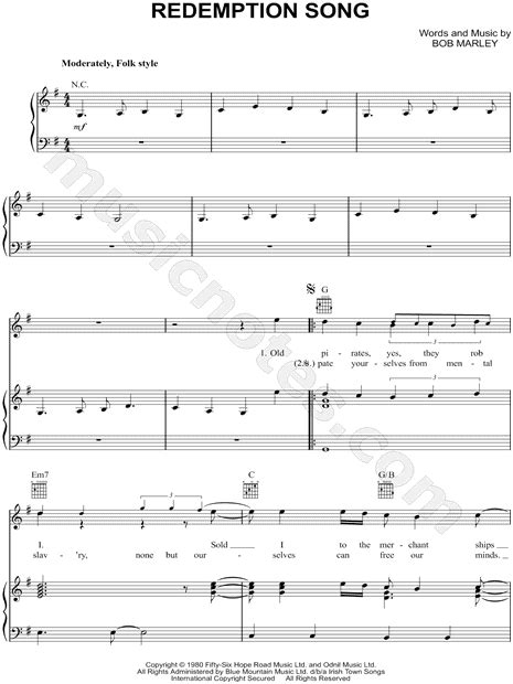 one bob marley testo bob marley quot redemption song quot sheet in g major