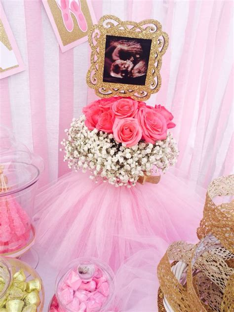 baby centerpieces centerpieces ballerina and pictures on