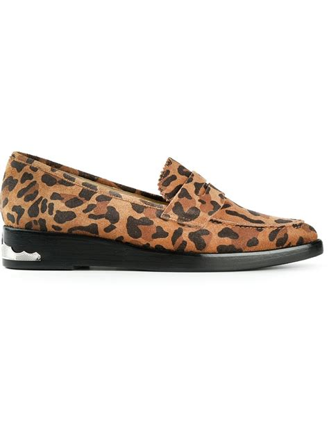 leopard loafers toga pulla leopard print loafers in animal yellow