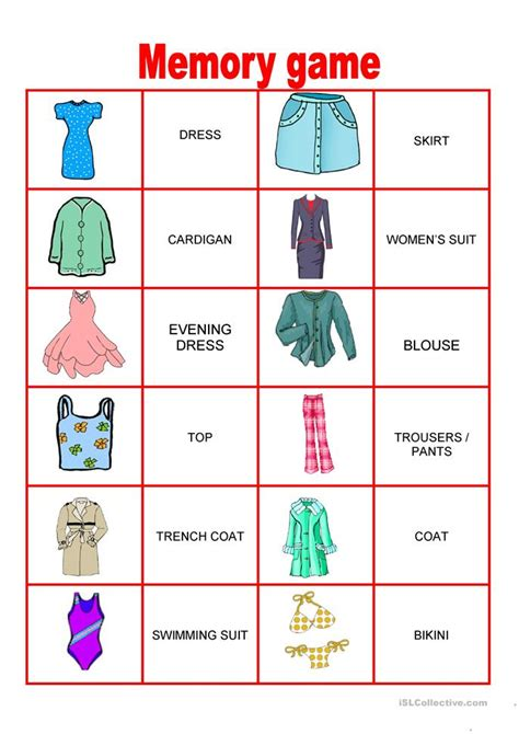 Memory Worksheets by Fashion Memory Worksheet Free Esl Printable