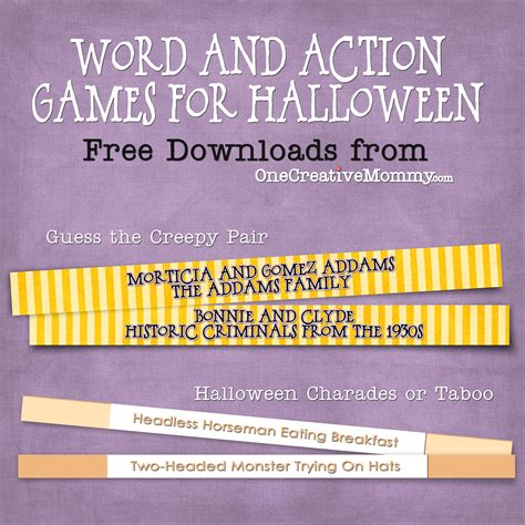 halloween charades free printable halloween game the halloween party games for kids and grownups too