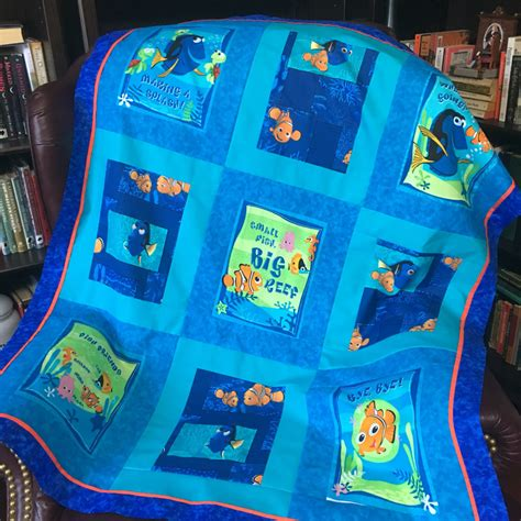 Nemo Quilt by Custom Made From Disney Finding Nemo Dory Fabric Quilt Throw