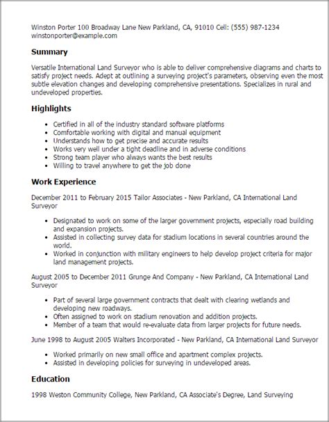 Cover Letter For Land Surveyor Resume by 1 International Land Surveyor Resume Templates Try Them