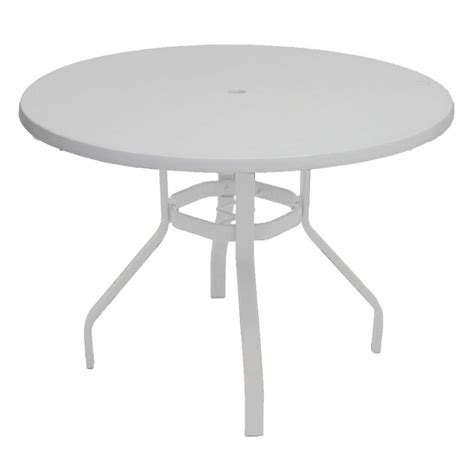 white patio table marco island 42 in white commercial fiberglass