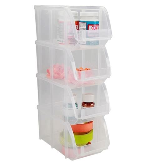 Canada Kitchen Cabinets by Iris Stacking Bins In Plastic Storage Bins
