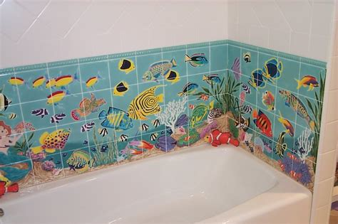 Ideas For Wall Murals hand painted tile bathroom los angeles by howe