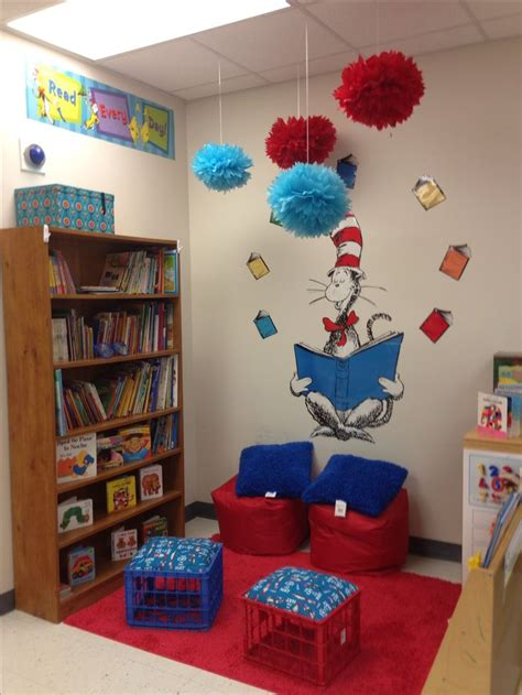 themes for reading areas cat in the hat classroom theme reading center mrs
