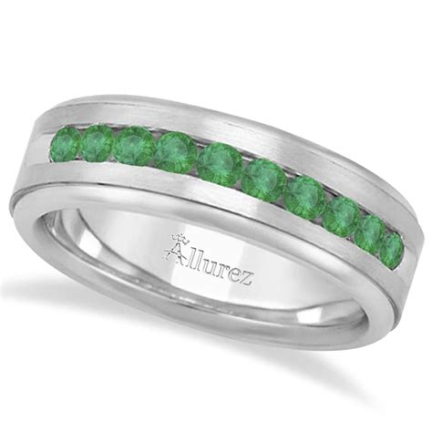 s channel set emerald ring wedding band 18k white gold