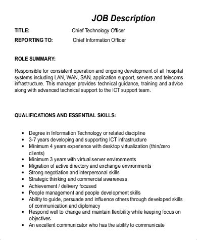 exle of a chief marketing officer description sle cto