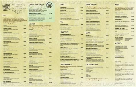 Handmade Burger Company Menu - 1 of 2 price lists menus handmade burger