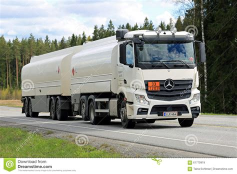 mercedes truck white white mercedes benz actros 2545 tank truck on the road