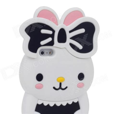 Iphone Casing Panda Black White Rabbit Pink Bunny 6 7 8 X rabbit style protective silicone back for iphone 5 white black pink yellow