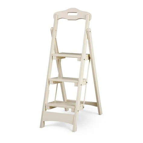 Wood 3 Step Folding Stool by Solid Wood Folding Portable 3 Step Stool Ladder Kitchen