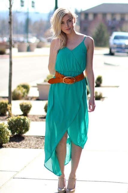 Maxi Dress Brown With Belt fashion trends teal maxi dress with brown belt