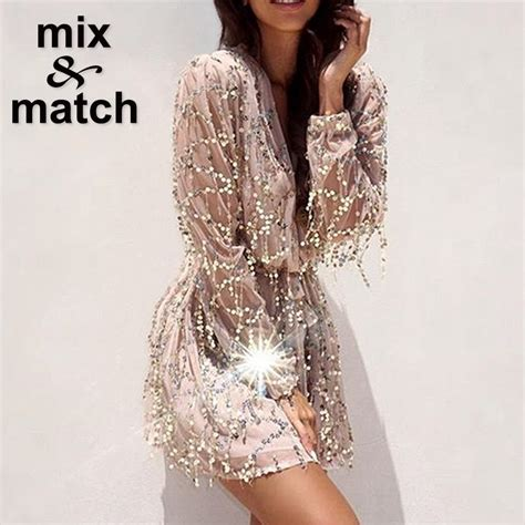 23938 White Sequin Cross Size L fashion style spangle dress cross v neck sleeve