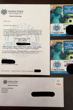 Acceptance Letter To Monsters S Acceptance Letter Invitation Creative Disney Inspiration Disney Donna