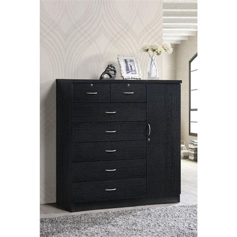 dresser with doors and drawers hodedah 7 drawer black chest with door hi71dr black the