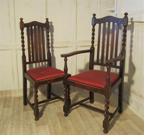 Dining Chair Sets Of 6 Set Of 6 Barley Twist Oak Dining Chairs Antiques Atlas