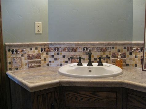 bathroom sink backsplash with decorative handmade barnyard