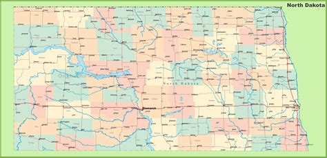 dakota road map with cities road map of dakota with cities