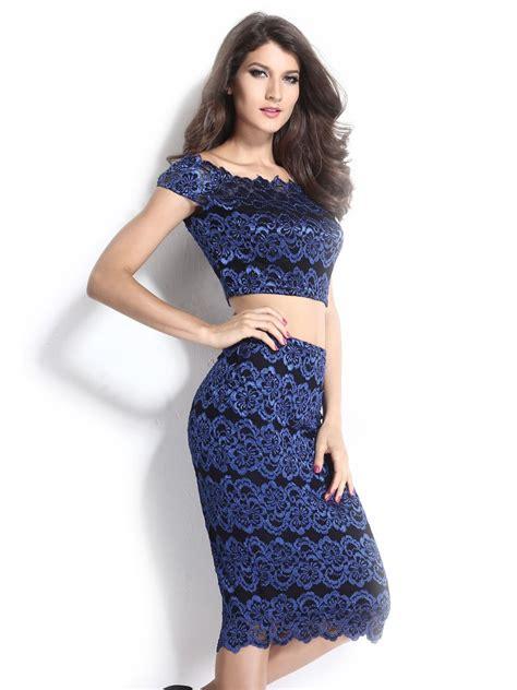Set Lace Top vintage lace bodycon crop top pencil skirt set