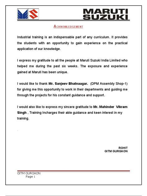Maruti Suzuki Internship Report Maruti Suzuki