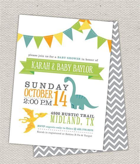 Double Sided Dinosaur Baby Shower Invitation Bunting Flags Dinosaur Baby Shower Invitation Template