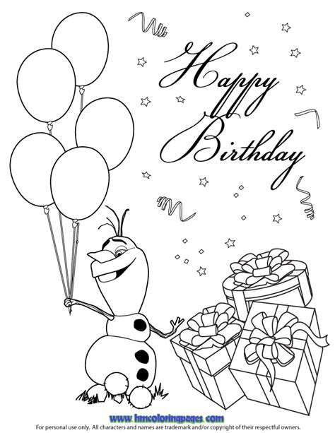 Happy Birthday Olaf Coloring Page | olaf colouring pages search results calendar 2015