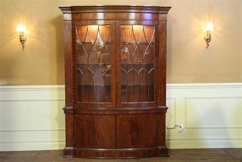 high end bow front china cabinet hutch mahogany display