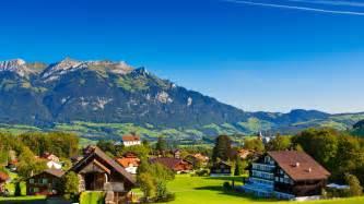 Suisse, Alpes, montagnes, été, nature, verdure, les maisons Fonds d ... Suisse