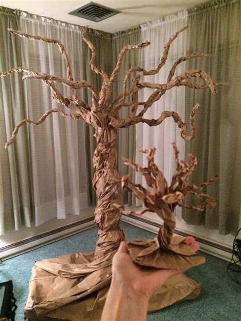 A Tree Out Of Paper - we made a tree out of a 15 foot paper bag junk