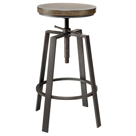 Solid Wood Bar Table And Stools by Adjustable Solid Elm Wood And Gun Metal Bar Stool