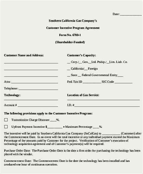 customer incentive agreement template sle templates