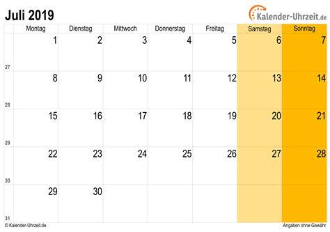 Kalender 2019 Zum Ausdrucken Juli 2019 Kalender Mit Feiertagen