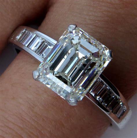 estate 3 92ct emerald cut platinum engagement