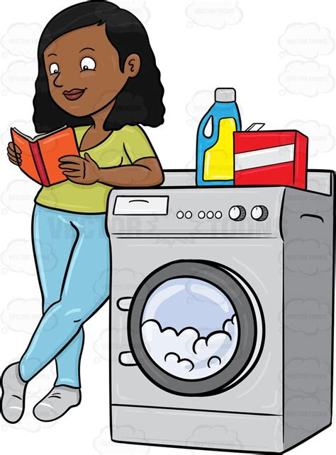 black hers for laundry a black kills time by reading a book while waiting