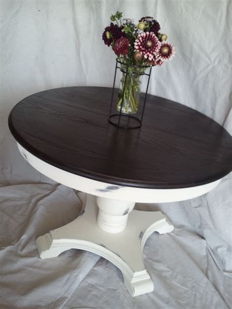 black stained walnut wood pedestal for round glass top this that and life creamy white round pedestal table