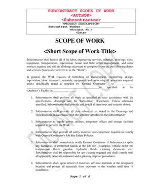 sle scope of work forms and templates fillable