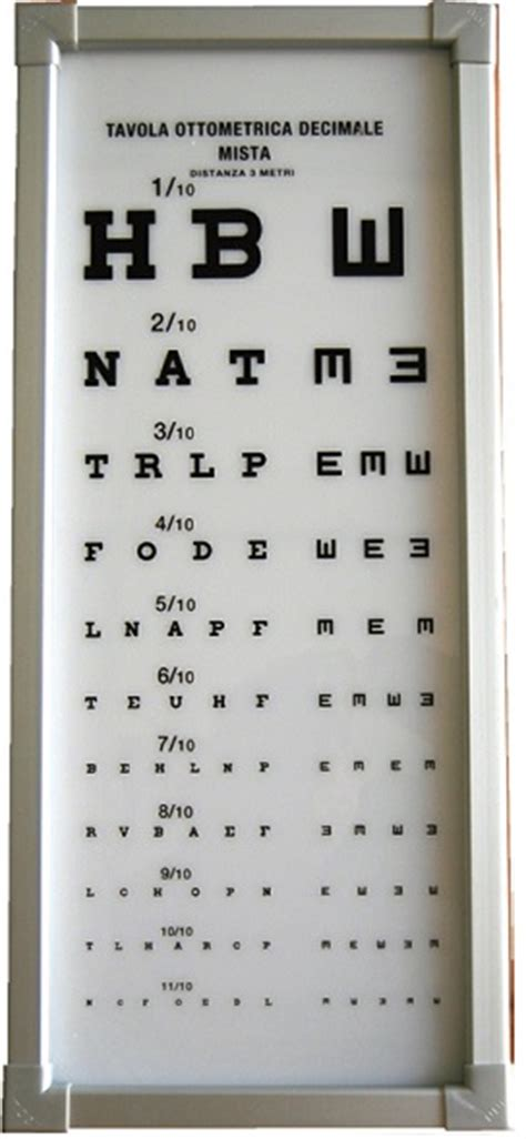 tavola optometrica tavole ottometriche luminose
