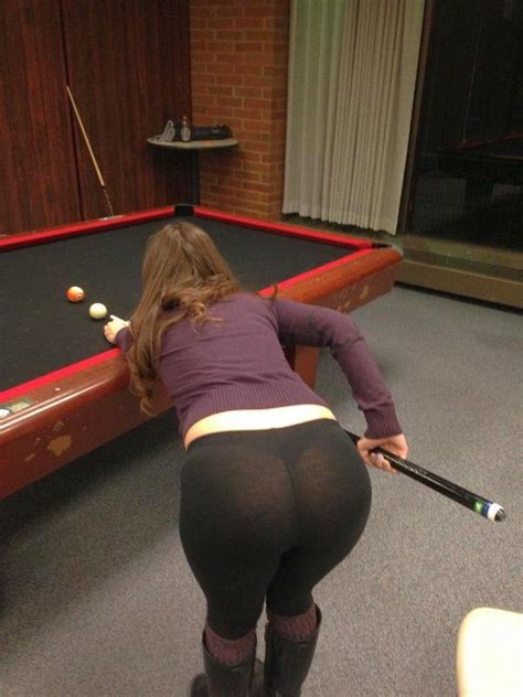 College Girl Bent Over The Pool Table In See Through Yoga Pants HOT Girls In Yoga Pants Best