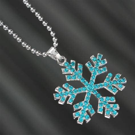 Rhinestone Snowflake Necklace rhinestone frozen snowflake silver chain pendant